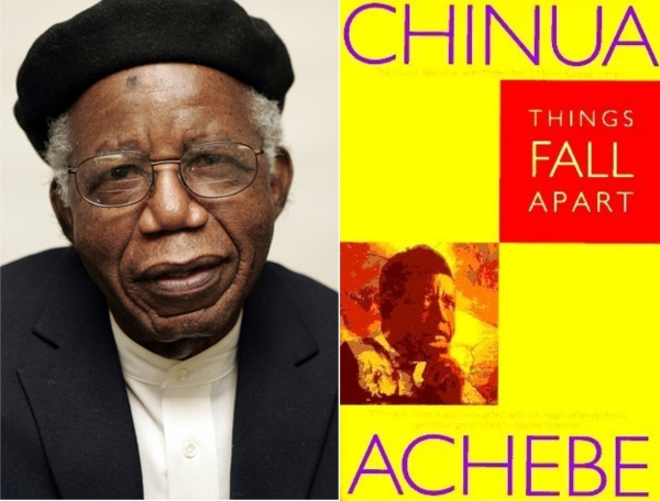 Chinua Achebe and the cover of his book, Things Fall Apart