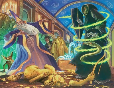 Dumbledore vs. Voldemort: wizards' duel by Mary Grandpre