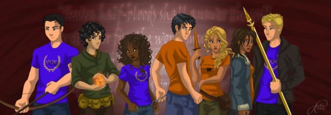 The Prophesied Seven: Frank, Leo, Hazel, Percy, Annabeth, Piper, Jason.