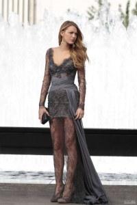 Serena in grey dress