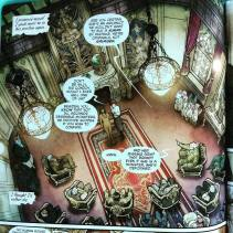 The second panel. I was wowed by all the details. And I like the perspective chosen for our first view of the room.