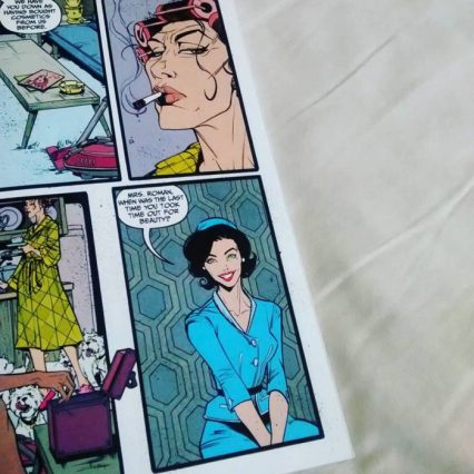 I really like the illustration of Mrs. Roman with the rollers in her hair. Josie is below in blue.