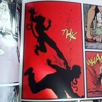 I love this frame of just the silhouette of Josie fighting. It makes her look more like a cat, which she often makes me think of because of her name and costume in this scene.